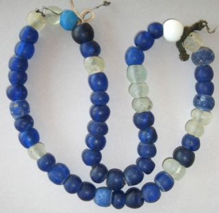 54 Antique Varied Color Blue,  White,  Clear Dogon Beads/1700 ' S Dutch Trade Beads photo