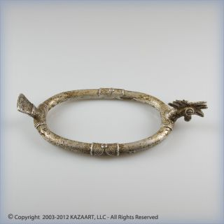 Old Bwaba Aluminum Anklet Chevillière Of Crested Bird Burkina Faso photo