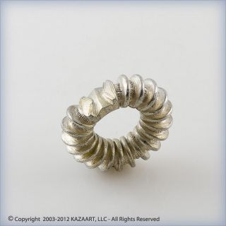 Majestic Old Peul Fulani Traditional Silver Ribbed Ring Mali photo