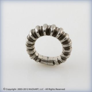Old Fulani Peul Traditional Silver Ribbed Ring Pendant Mali photo