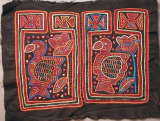 Two Kuna Pair Textile Mola Reverse Applique 2 - Turkey Tucan Bird Panama Ethnix photo