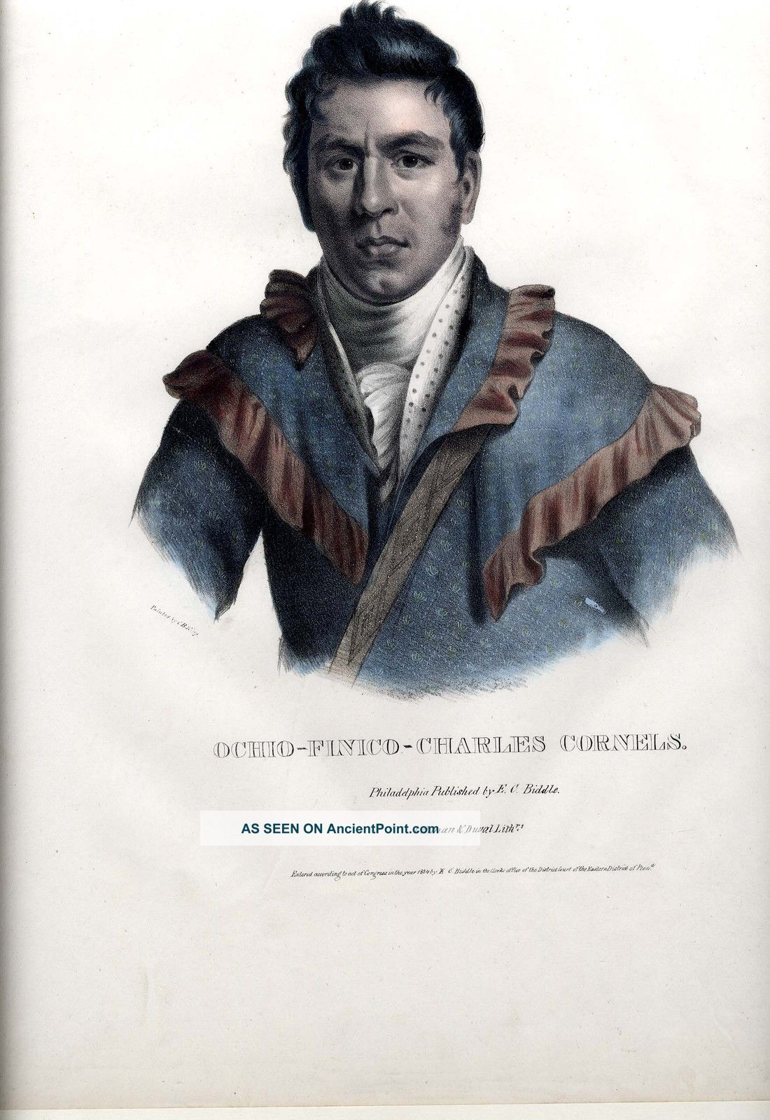 Mckenney Hall 1834 Lithograph - Oche - Finceco Indian Tribes N.  America Lg.  Folio Size Native American photo