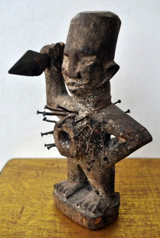 Antique African Congo Fetish Statue Nkisi Figure Witchcraft Voudon Black Magic photo