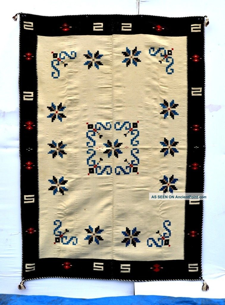 Classic Perfect Antique Texcoco Indian Indigo Blanket B041 Native American photo