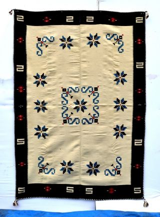 Classic Perfect Antique Texcoco Indian Indigo Blanket B041 photo