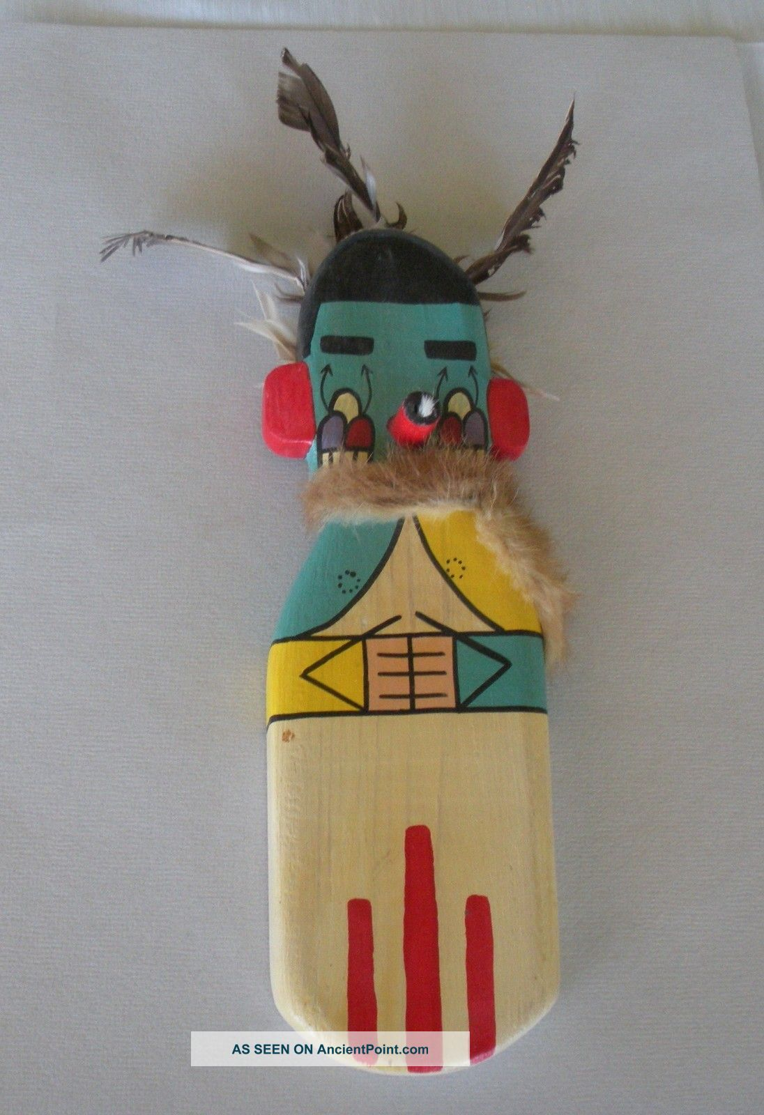 Old 1960 Hopi Flat Morning Kachina Signed,  11 Inches Signed J.  Walker Iii Native American photo