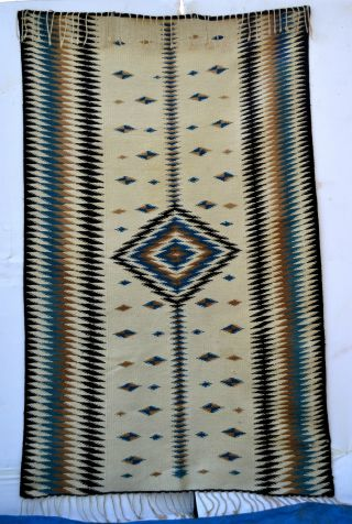 Antique Mayo Indian Indigo Blue Rio Grande Like Blanket B021 photo