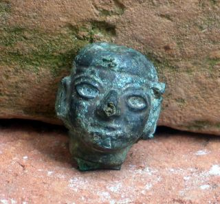 Pre Columbian Peru Moche,  Small Head Appliek. photo