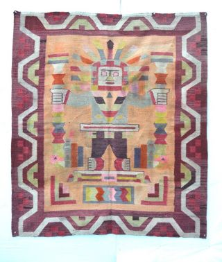 Antique Exhibited Mestizo Spanish Indian Blanket Rug Bolivia B040 photo