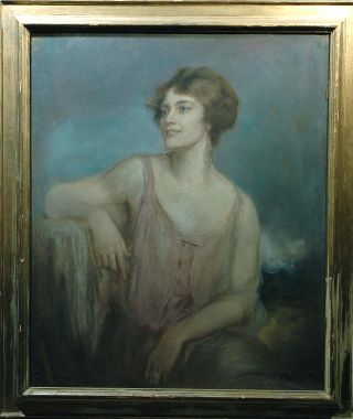Well To Do Lady Pastel By Listed Artist Robert Lewis Reid 1862 - 1929 photo