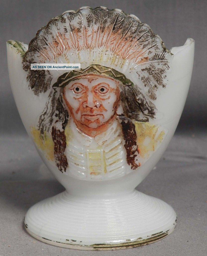Antique Figural Match Holder Striker Indian Chief Milk Glass Sitting Bull Native American photo