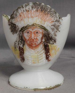 Antique Figural Match Holder Striker Indian Chief Milk Glass Sitting Bull photo