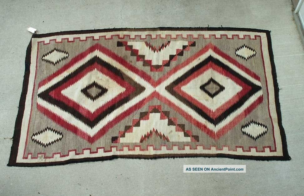Early 1900 ' S Antique Sw Navajo Indian Large Rug From Crystal Trading Post Native American photo