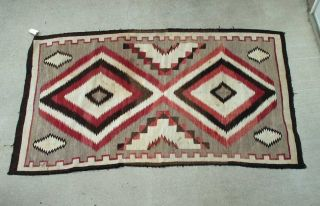 Early 1900 ' S Antique Sw Navajo Indian Large Rug From Crystal Trading Post photo