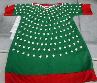Crow Indian Cloth - Imitation Elk Tooth Dress - Contemporary - Green Color Montana photo