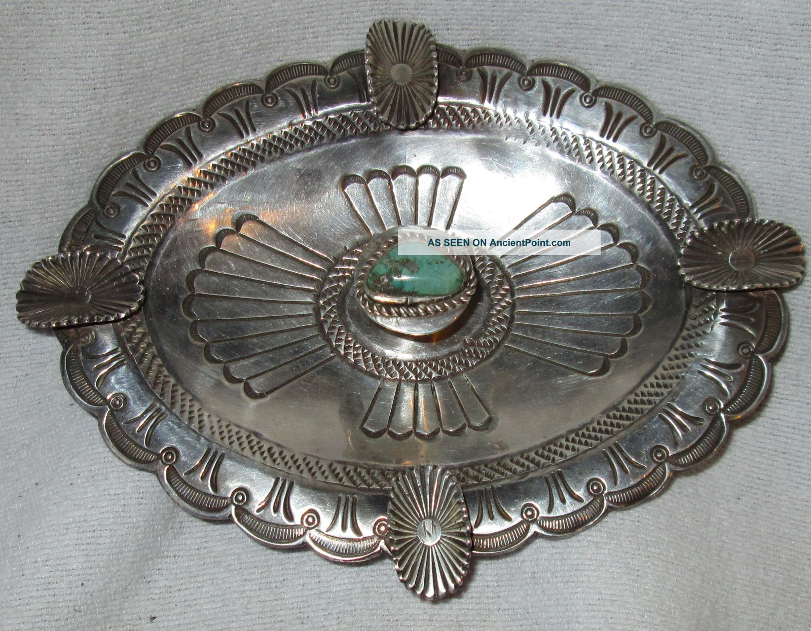 Vintage Navajo Native Indian Stamped Sterling Silver Tray Bowl Turquoise Native American photo