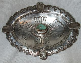 Vintage Navajo Native Indian Stamped Sterling Silver Tray Bowl Turquoise photo