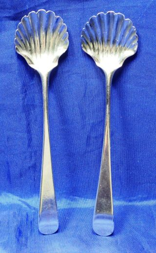 Hester Bateman - Pair Of Solid Silver Shell Bowl Condiment Spoons London 1783 photo