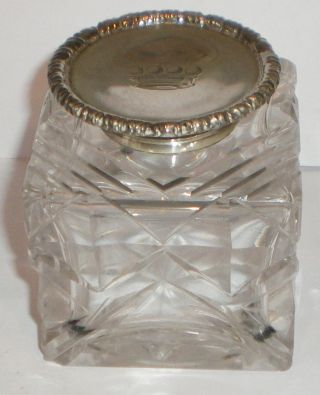 Large Silver Top Glass Inkwell Goldsmiths & Silversmiths 1899 Crested Coronet photo