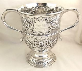 Antique Hallmarked Sterling Silver 2 Handle Cup/trophy - 1761 Francis Crump 534g photo