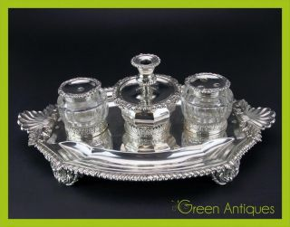 Antique 19thc Georgian Solid Silver & Cut Glass Inkstand,  Joseph Angell I C.  1827 photo