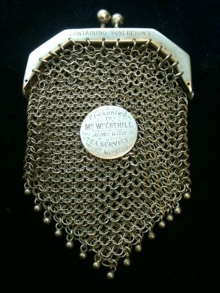 Antique Silver Purse Dated 1890 Ref 1717/2 photo