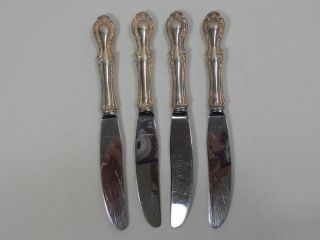 Northumbria Silver Cello Sterling Set Of 4 Modern Hollow Butter Spreaders photo