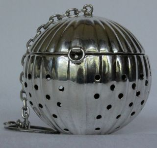 Wonderful Vintage Sterling Silver Tea Ball Strainer Infuser - Circa 1890 - 1900 photo