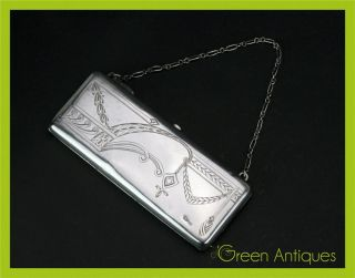 Antique 19thc Imperial Russian Solid Silver 84 Wallet / Purse,  Moscow C.  1890 photo