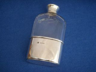 Victorian Asprey Solid Silver & Glass Hip Flask - Antique photo