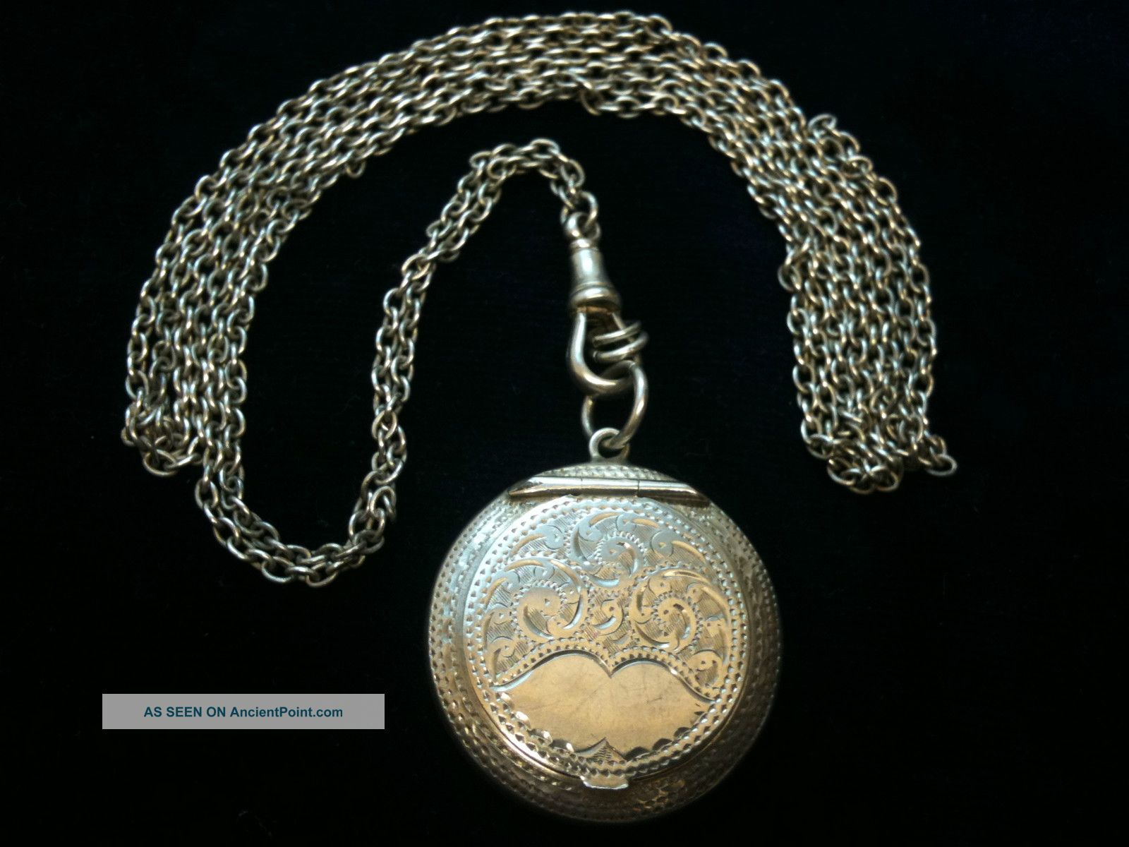 Antique Silver Powder Comport & Chain Chester 1918 Ref 1717/3 Other photo
