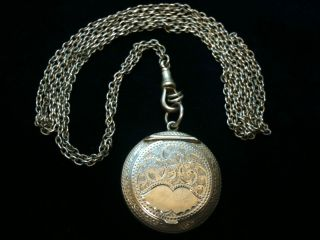 Antique Silver Powder Comport & Chain Chester 1918 Ref 1717/3 photo
