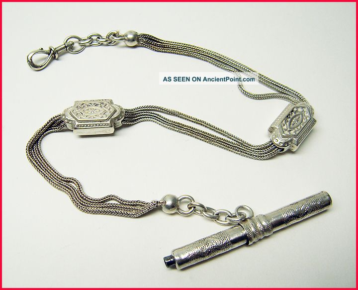 Fine Antique French Solid Silver Albert Pocket Watch Chain & Key Other photo
