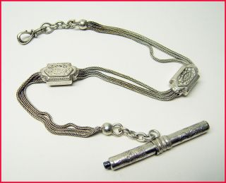 Fine Antique French Solid Silver Albert Pocket Watch Chain & Key photo