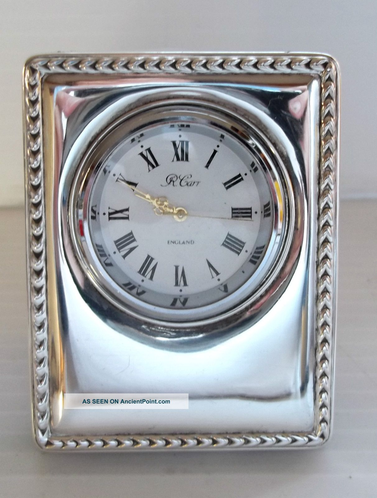 Hallmarked Solid Sterling Silver Bedside / Travel Clock Carrs ' Other photo