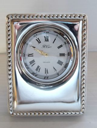 Hallmarked Solid Sterling Silver Bedside / Travel Clock Carrs ' photo