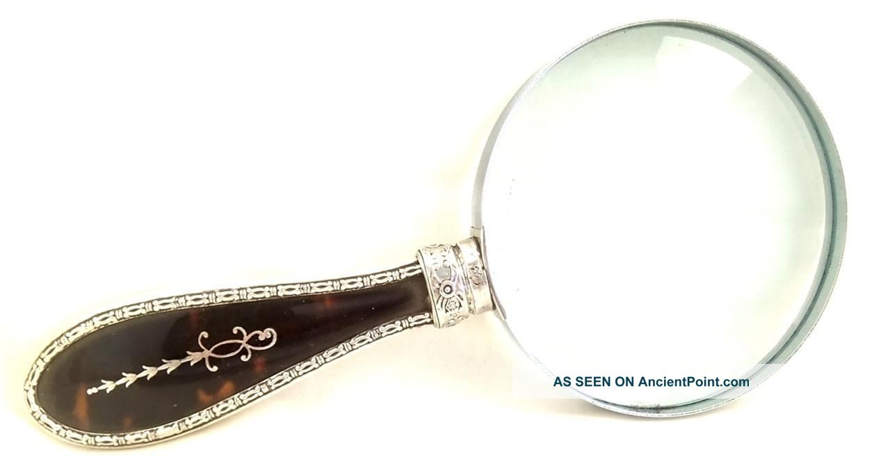 Antique Shell & Hallmarked Silver Pique Inlay Magnifying Glass 1884 Other photo