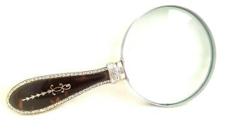 Antique Shell & Hallmarked Silver Pique Inlay Magnifying Glass 1884 photo