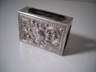 A Silver Matchbox Holder With Embossed Rocaille Decoration : C1910 photo
