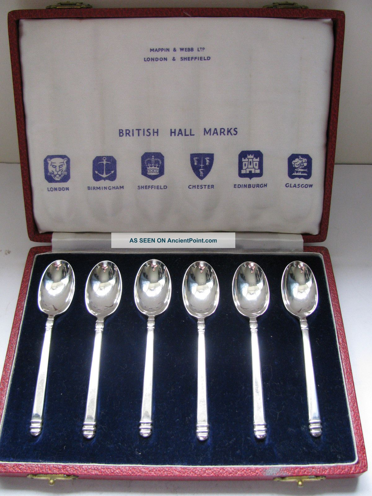 Rare Perfect Set Of Hallmark Solid Silver Spoons 1952 By Mappin & Webb Other photo