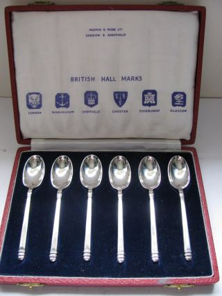 Rare Perfect Set Of Hallmark Solid Silver Spoons 1952 By Mappin & Webb photo