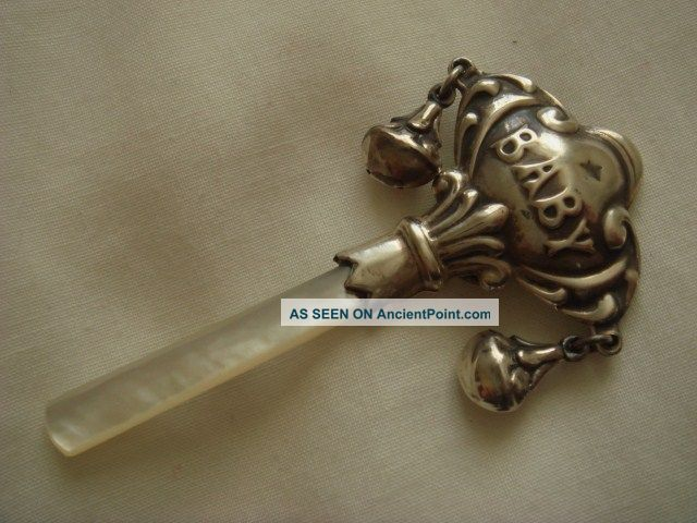 Solid Sterling Silver Hallmarked Baby Rattle With Two Bells + Mother Pearl Other photo