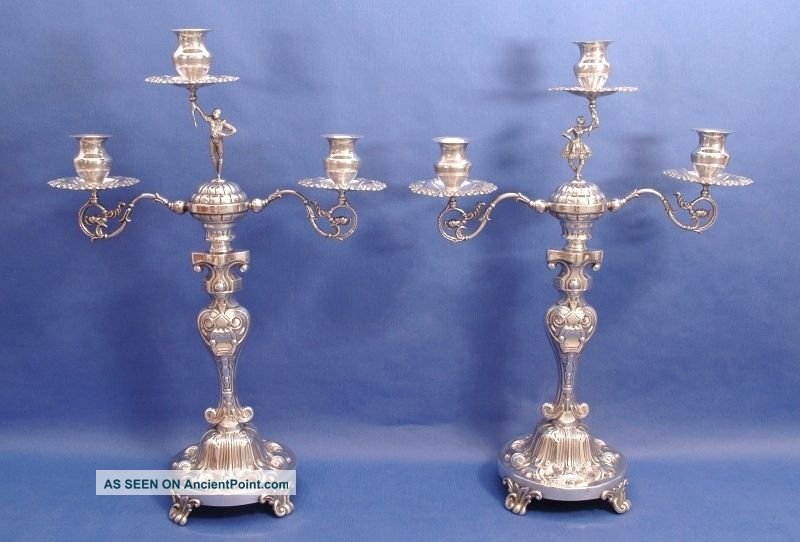 Pair Of Solid Silver Three Light Candelabra.  37.  5 Cm.  Height Candlesticks & Candelabra photo