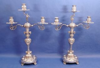 Pair Of Solid Silver Three Light Candelabra.  37.  5 Cm.  Height photo
