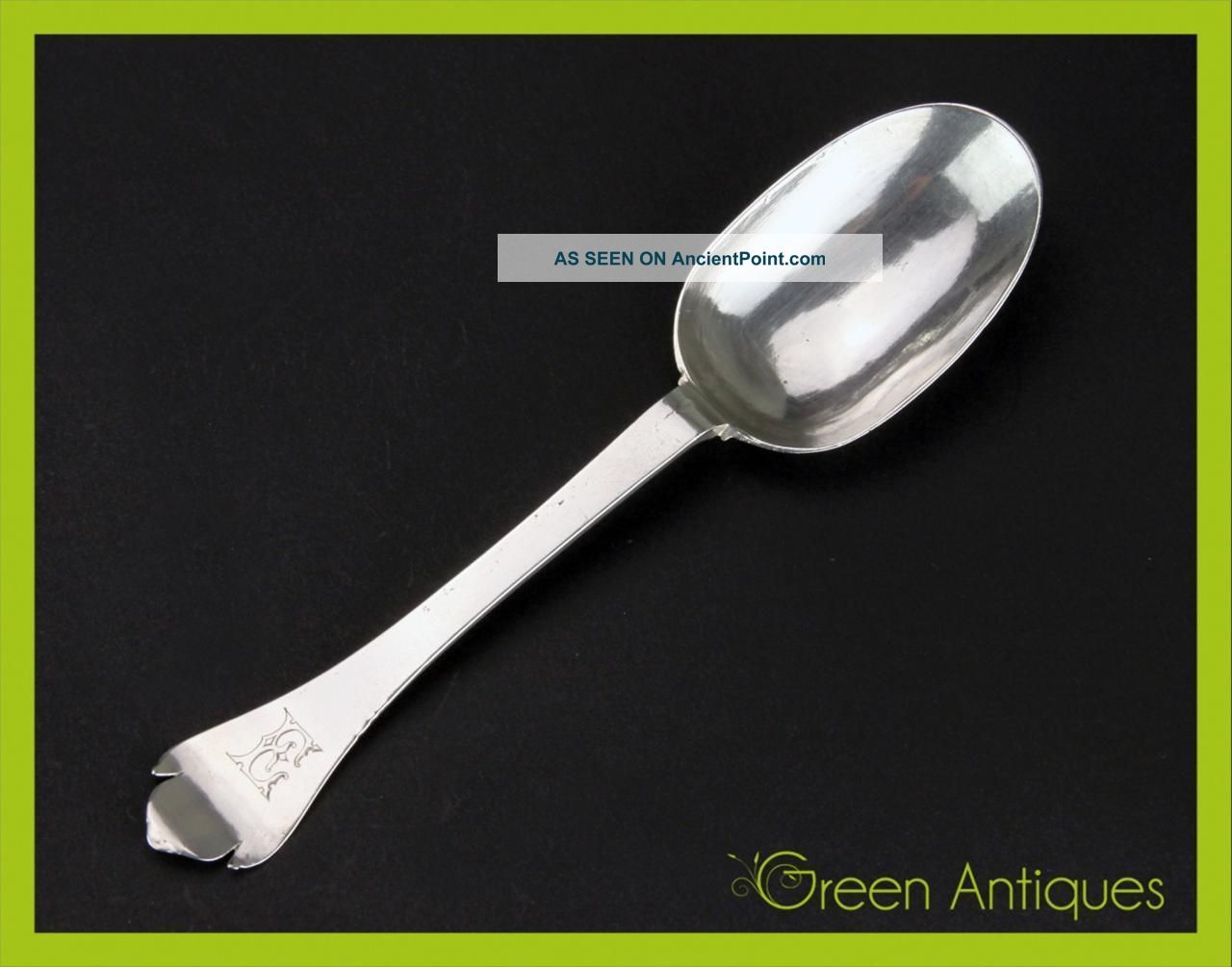 Antique 18thc Georgian Solid Silver Hand Engraved Dog - Nose Spoon C.  1723 Other photo
