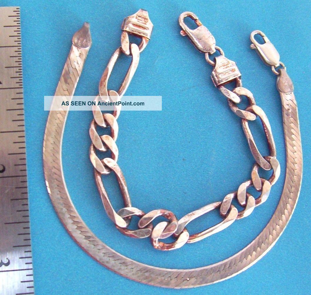2 Sterling Silver Bracelets - 25.  4 Grams,  3/4 Oz - Good Shape Other photo
