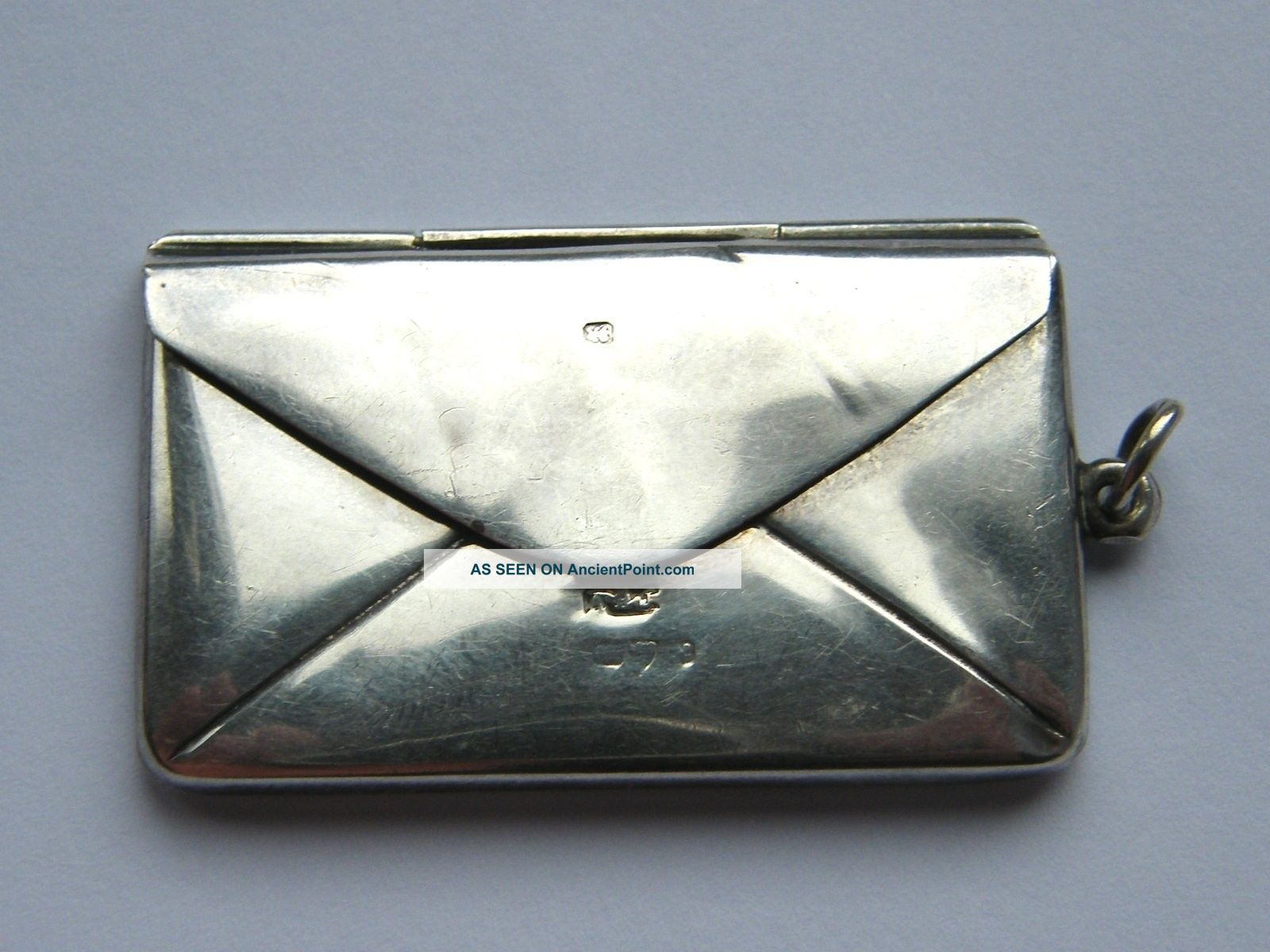Antique - Solid Silver - Envelope Shaped Double Stamp Case/fob - Chester - C1913 Other photo
