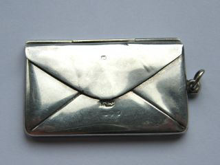 Antique - Solid Silver - Envelope Shaped Double Stamp Case/fob - Chester - C1913 photo