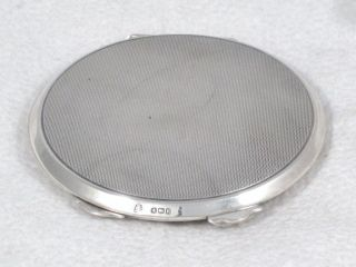 Antique English Sterling Silver Engine Turned Ladies Powder Compact Dated 1941 photo