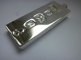 Lovely Heavy Vintage Solid Silver Hallmarked 1 Troy Oz Ingot - London 1977 photo